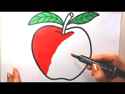 Draw Color Paint Apple Fruit Coloring Page for Kids to Learn Painting