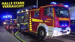 [FEUERMELDUNG IN EINER FIRMA] - Halle stark verraucht   Heißgelaufene Maschine   Feuerwehr Velbert -