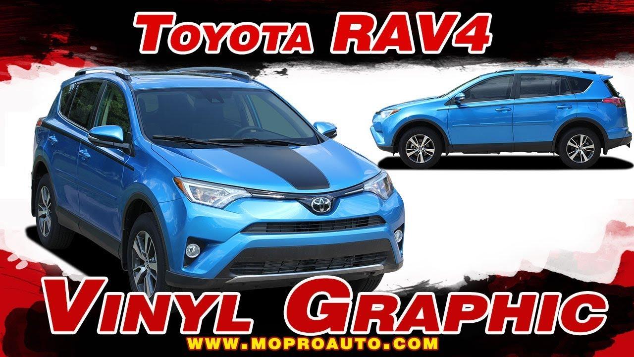 Ravage 2016 2019 toyota rav4 hood blackout and side door vinyl graphic stripes decal kits