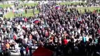 Гимн СССР и Интернационал в Донецке. 7 апреля 2014 г.