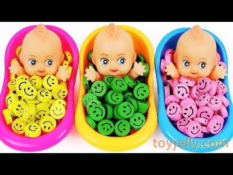Thumbnail: Learn Colors Baby Doll Finger Family Song Smiley Candy Bath Time Surprise Eggs Toys for KID Children