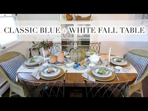 CLASSIC BLUE + WHITE FALL TABLE   DIY + Decor Challenge