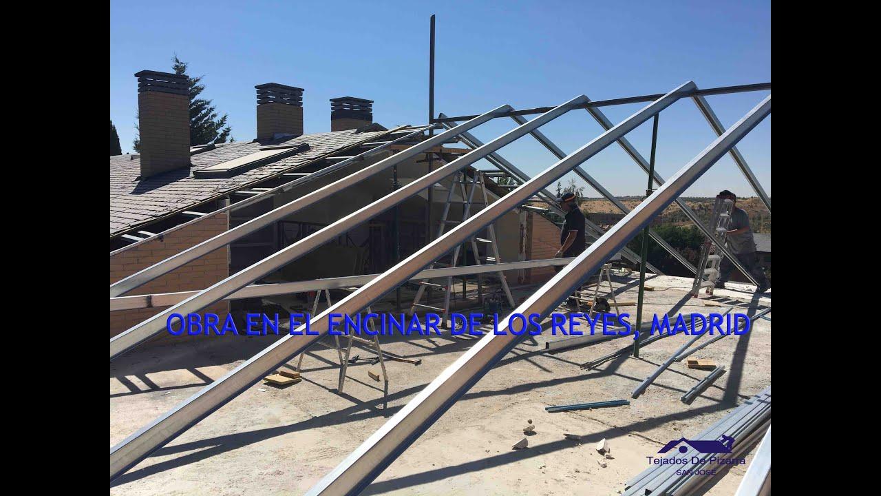 Estructura ligera metalica en un tejado de pizarra en for Tipos de tejados de casas