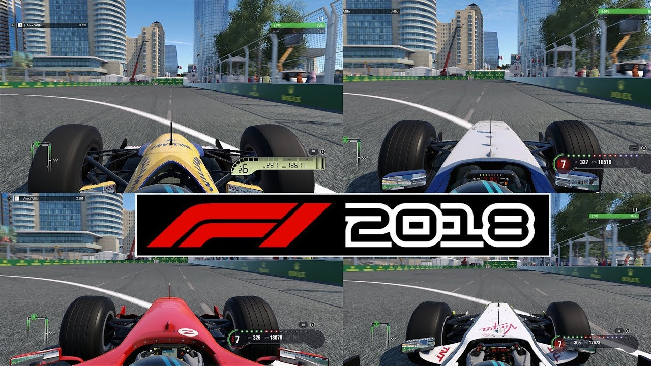 F1 2018 Baku Top Speed Test - WHICH CLASSIC CAR IS THE FASTEST? (POST DAY 1  PATCH)