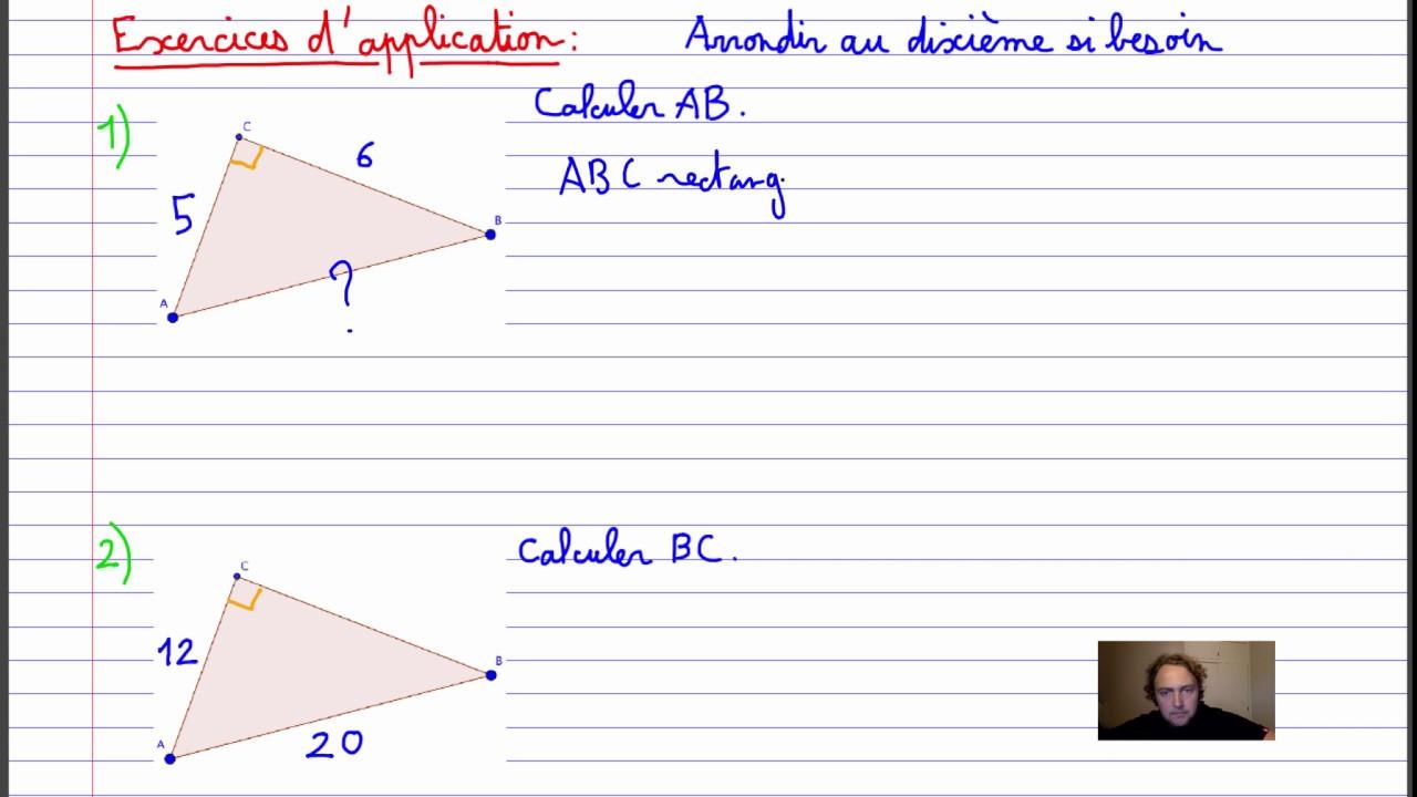 Pythagore Exercices D Application Et Correction Youtube