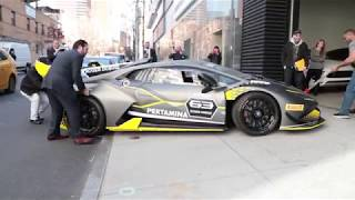 Lamborghini Huracan Super Trofeo EVO unloading in Manhattan!