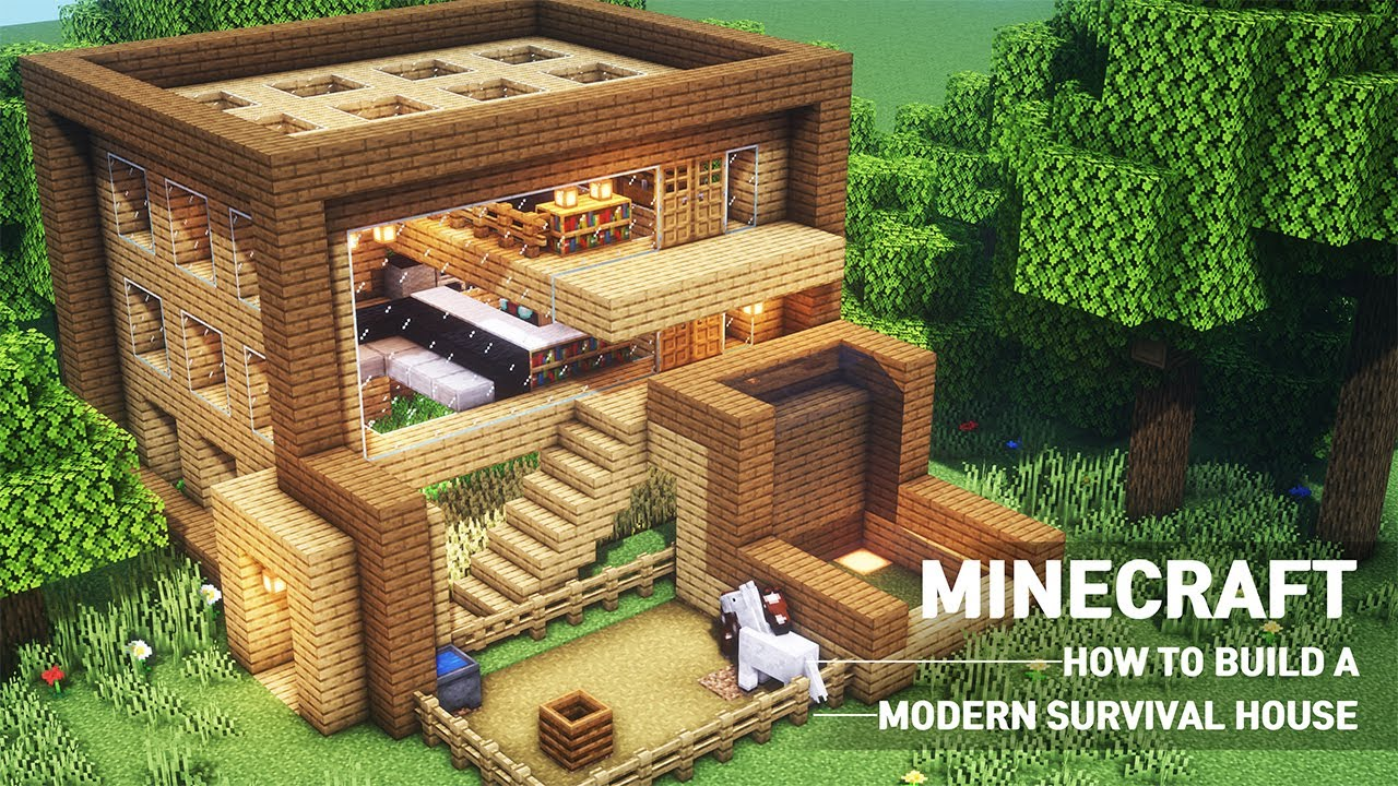 Minecraft Tutorial How To Build A Modern House With Wood In Minecraft 89 Youtube