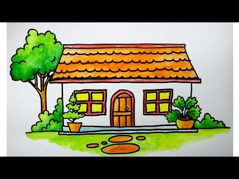 menggambar rumah untuk anak SD - YouTube