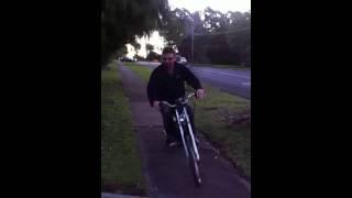 big rev kev's Worlds Fastest Push Bike with Motor doing Monster Burnout