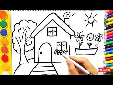 Drawing House for Learning Colors and Coloring Pages a Dog ...