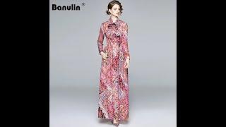 Женское модельное платье макси с длинным рукавом banulin элегантное праздничное длинное цветочным