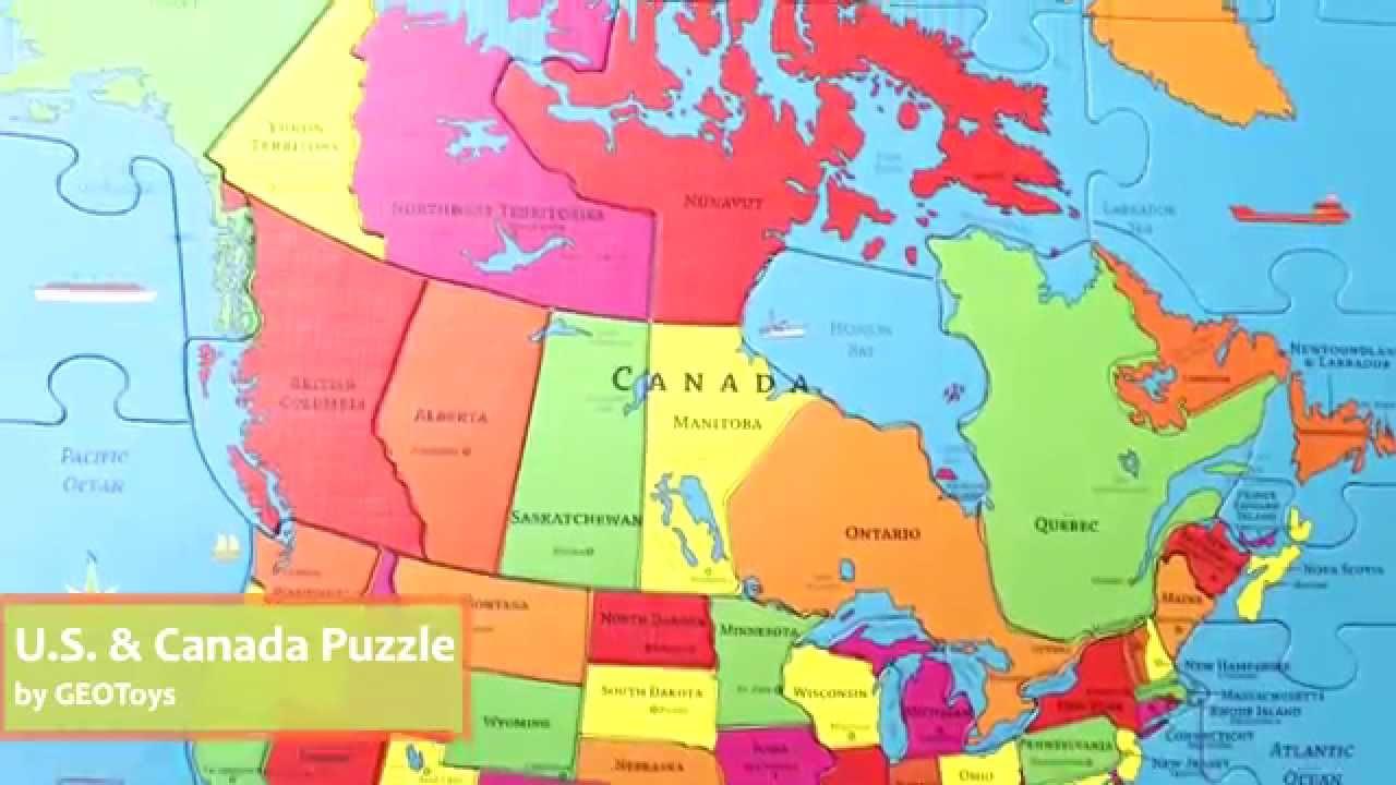 USA  Canada GeoPuzzle by GEOToys GEO104  YouTube