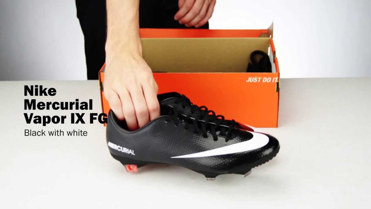 Nike Mercurial Vapor IX FG Soccer Cleat - Black with White Unboxing -  YouTube 4779f73e78eb2