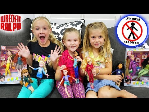 No Boys Allowed!! Disney Princess Doll Scavenger Hunt from Wreck It Ralph Breaks the Internet Movie!