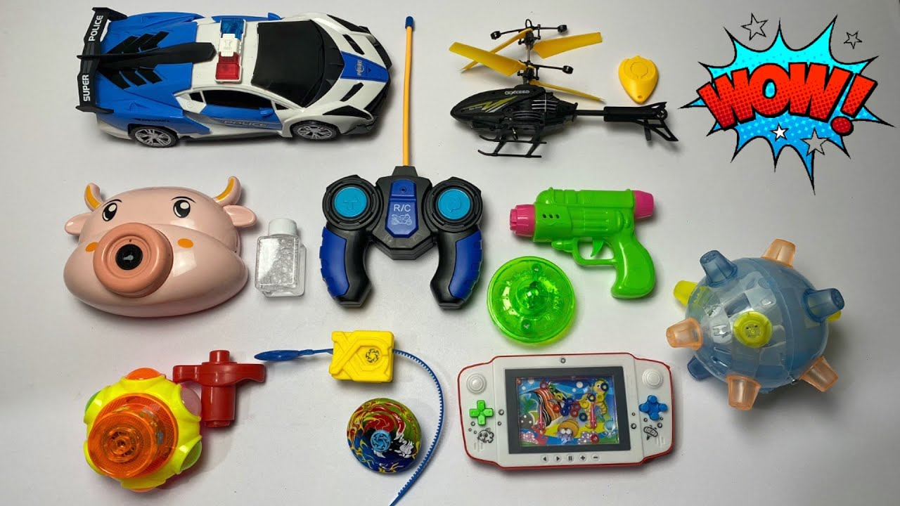 My Latest Cheapest toys Collection, RC Police car, rchelicopter, dancing ball, gun spinner, bayblade