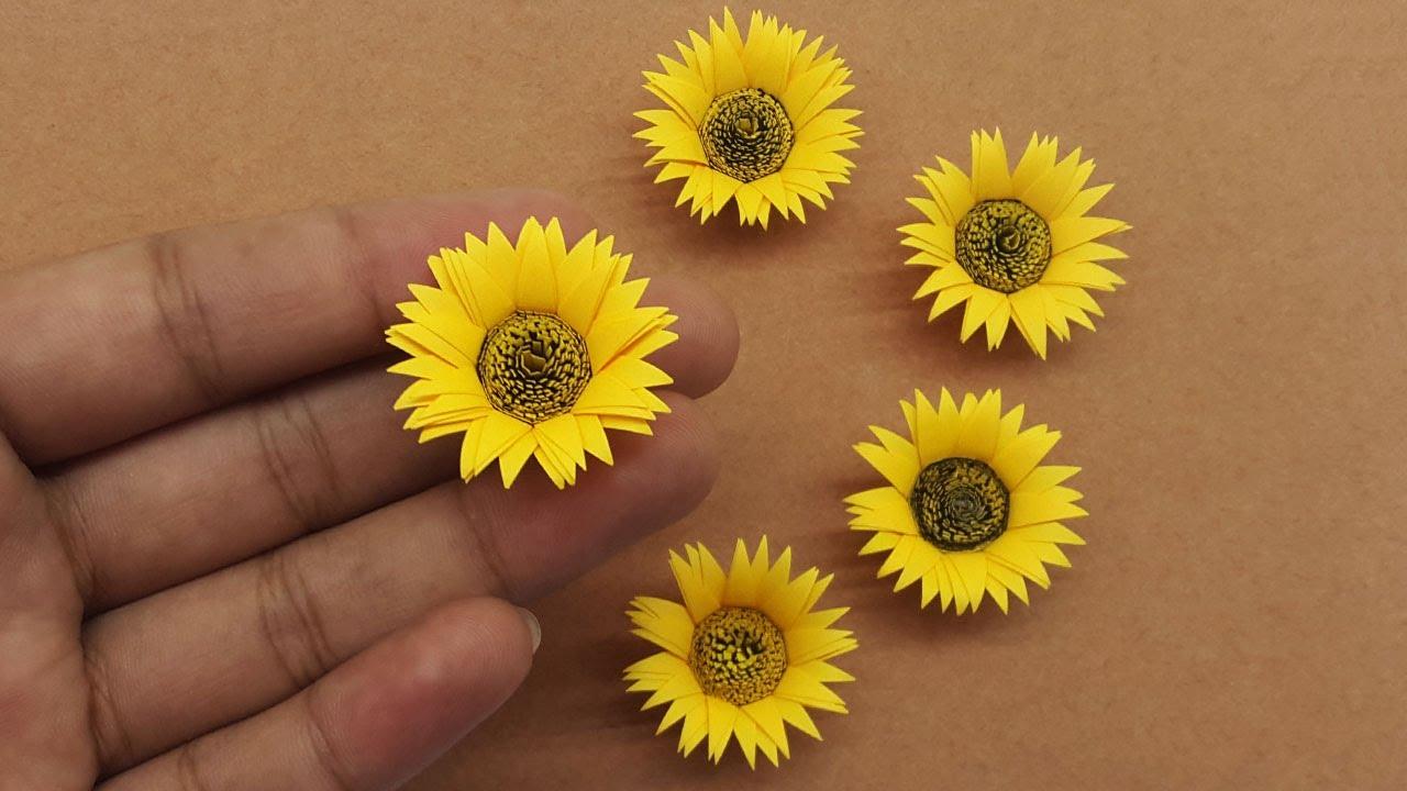 How to Make Mini Paper Sunflower Easy 🌻 Mini Sunflower DIY Paper Flower Craft