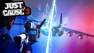 LIGHTING GUN TAKING OUT A PLANE - JUST CAUSE 3 SEA DLC FUNNY MOMENTS | SuperRebel