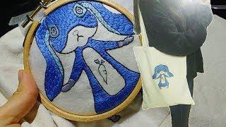 Rabbit embroidery 에코백에 토끼 수놓기!…