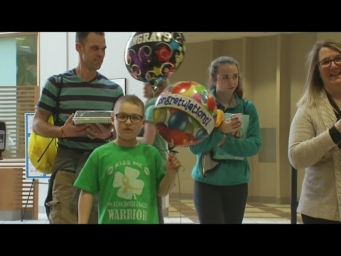 9-year-old rings the Victory Bell at Roswell Park Cancer Institute