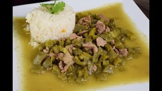 Cactus with Beef in Green Tomatillo Sauce, (Mexican Food)