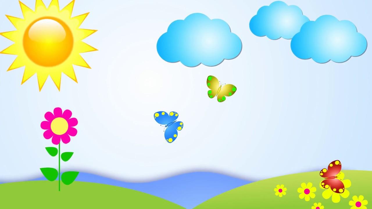 Детский фон с бабочками и рыбкой - YouTube