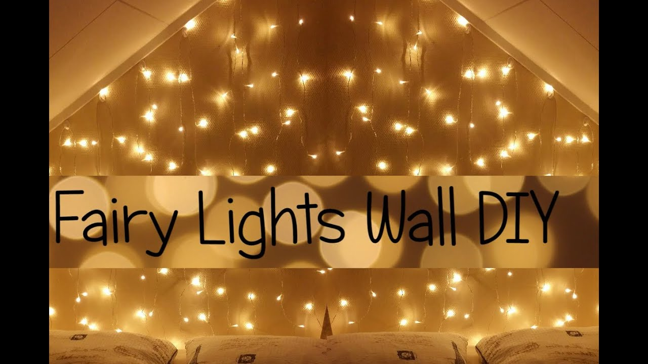 Bedroom fairy lights tumblr - Fairy Lights Wall Headboard Diy