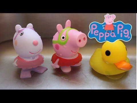 Peppa Pig Figuras de Baño  La Cerdita Peppa en Español Juguetes de Peppa Pig Videos De Viajes