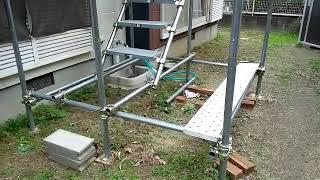 自宅に単管足場パイプ 48.6φ×2.4mmを組む