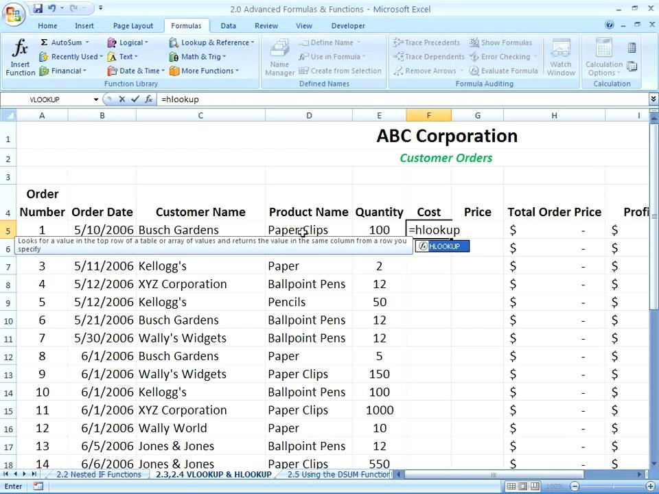 Excel 2007  Using the HLOOKUP Function  YouTube