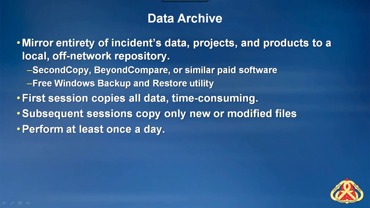 4C - Backup, Share, and Archive Incident Data - GIS