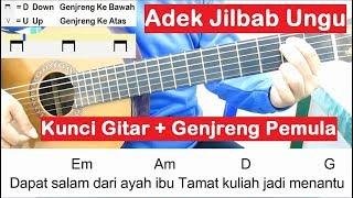 Belajar kunci gitar adek berjilbab ungu genjreng pemula. jilbab biru. untuk