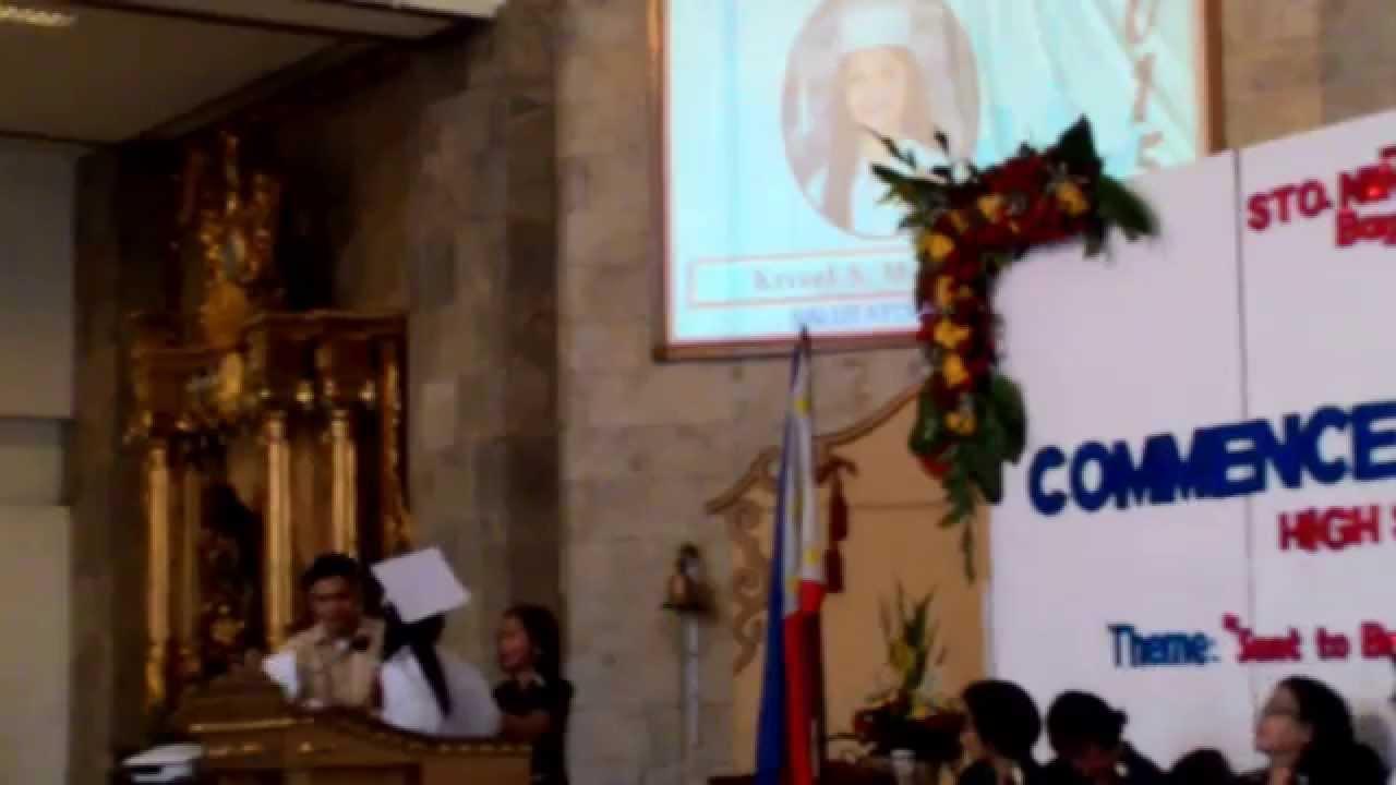 Ang Pambabastos ng Sto Nino Parochial School Administration sa speech ng  kanilang Salutatorian