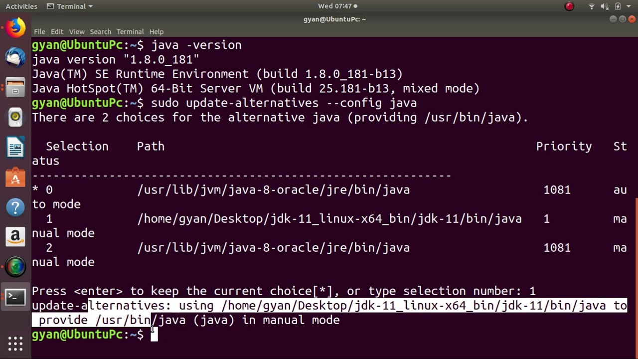 java alternatives linux