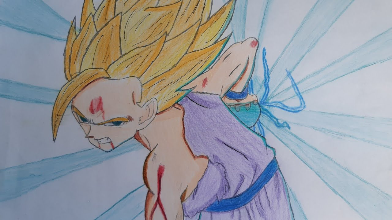 Como Colorir Gohan Super Sayajin 2 Arts Mauricio Youtube