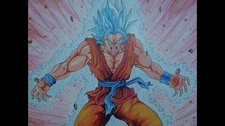 Drawing Goku Super Saiyan God 3d