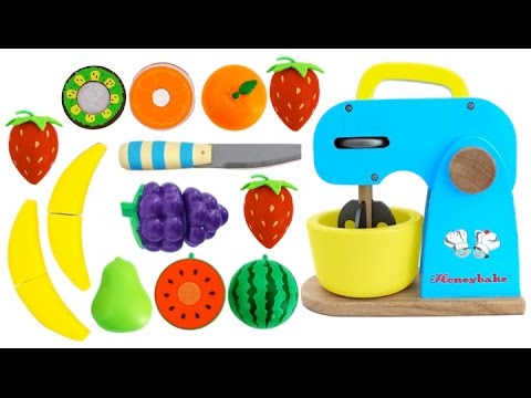 Toy Mixer Playset Learn Fruits & Vegetables with Wooden Velcro Toys for Kids Preschoolers