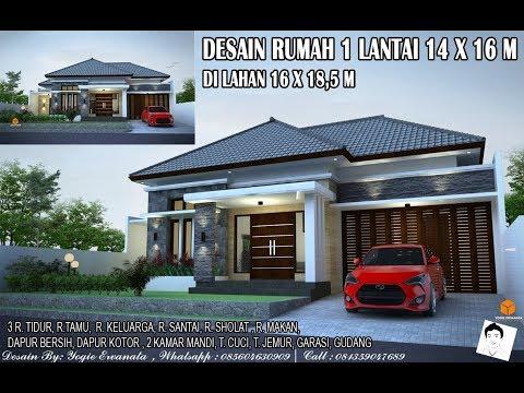 DESAIN RUMAH 1 LANTAI 16X14 M 3 RUANG TIDUR