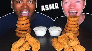 ASMR CRISPY CHICKEN TENDERS &amp ONION RINGS EATING RACE  REAL EATING SOUNDS  MUKBANG