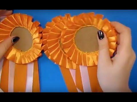 Как сделать Бейджик Эмблема из атласных лент медаль/брошь/значок выпускникам Поделки атласных лент.