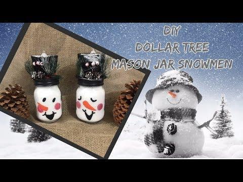 DIY EASY Dollar Tree Mason Jar Snowmen/Dollar Tree Decor