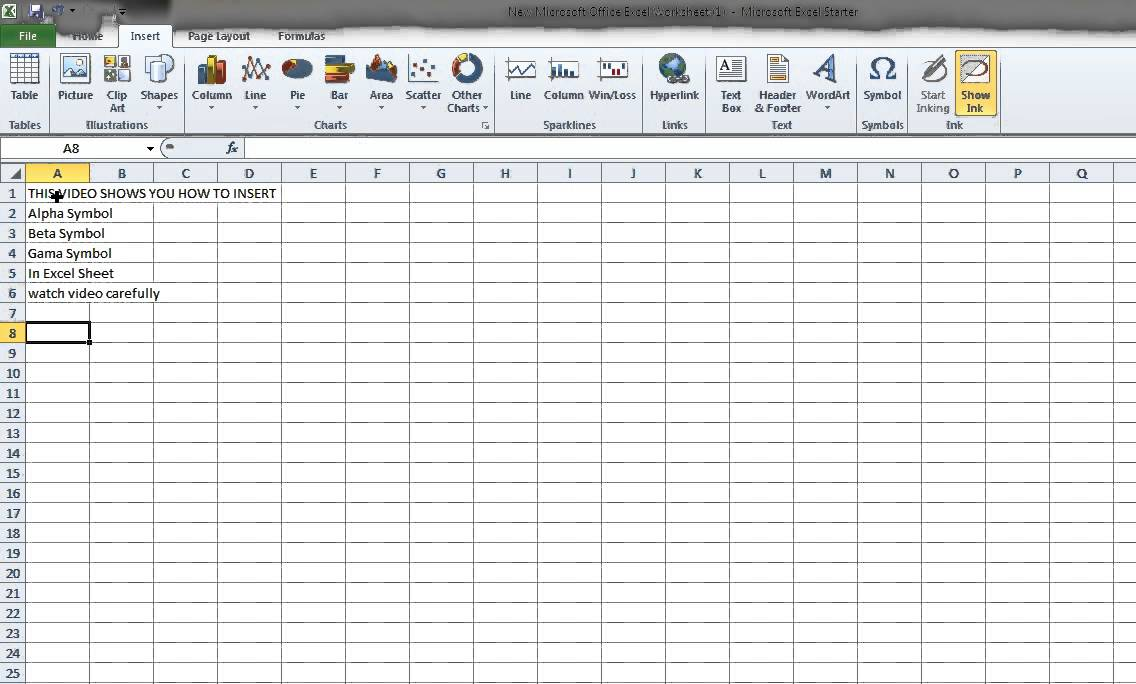 How To Insert Alpha Beta Gama Symbols In Ms Excel Worksheet Youtube