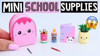DIY REAL MINIATURE SCHOOL SUPPLIES! Notebook, Backpack & MORE!