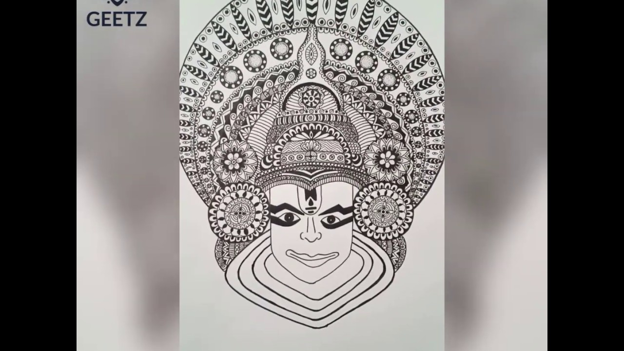 Kathakali: A  Indian classical dance form from the state of Kerala; Mandala Art by Geetha Dinkar