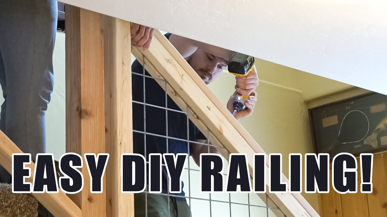 We Built A Railing Out Of 2X4 S And Hog Wire Youtube   Hog Wire Stair Railing   Deck Stainless   Wire Lattice Deck   Wire Panel   Privacy Panel Cable Railing   Modern Farmhouse