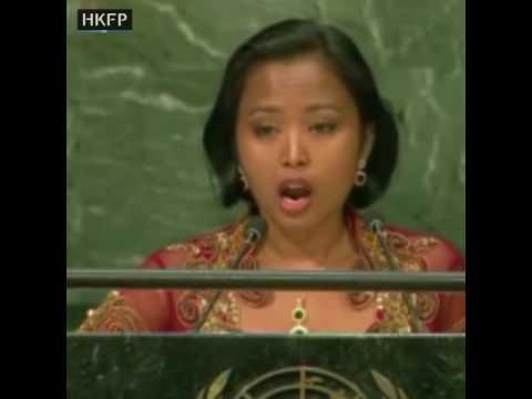 Domestic worker activist Eni Lestari addresses the UN on migrant workers