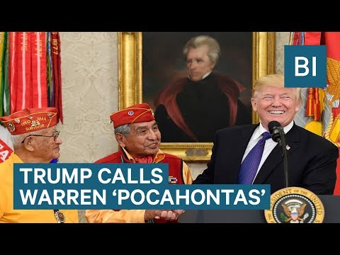 Trump Calls Elizabeth Warren 'Pocahontas' at White House Event Honoring Native American Code Talkers
