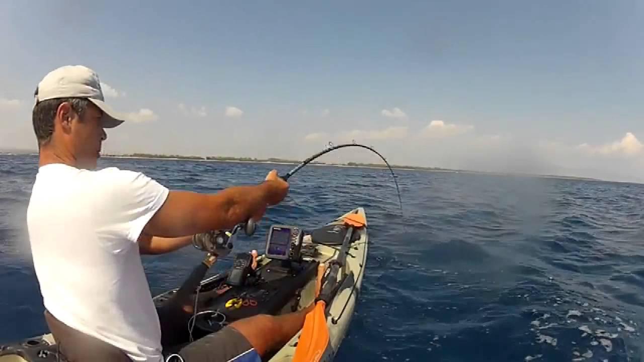 Kayak fishing ricciola amberjack 24 kg youtube for Kayak fishing louisiana