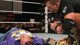 Raw: The Miz lays out John Cena with a People's Elbow.