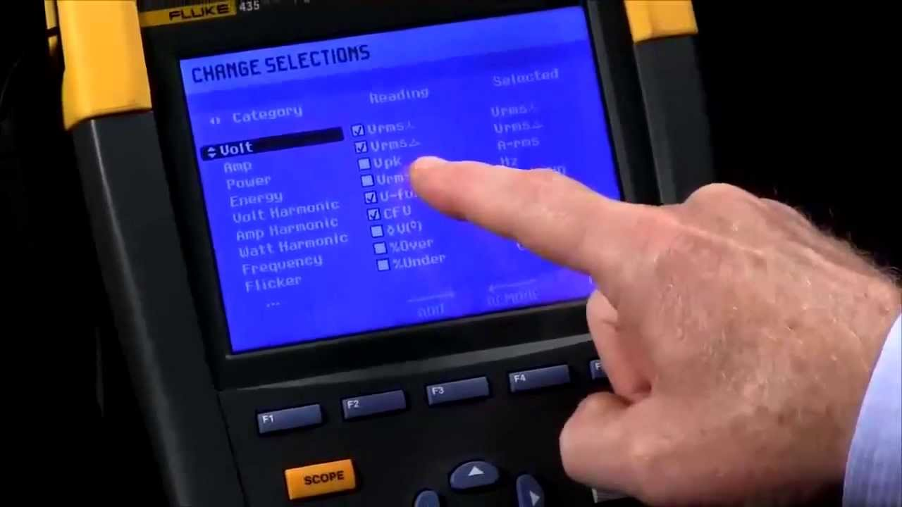 How To Set Up Logging On The Fluke 435 Series Ii Power Quality Analyser Youtube