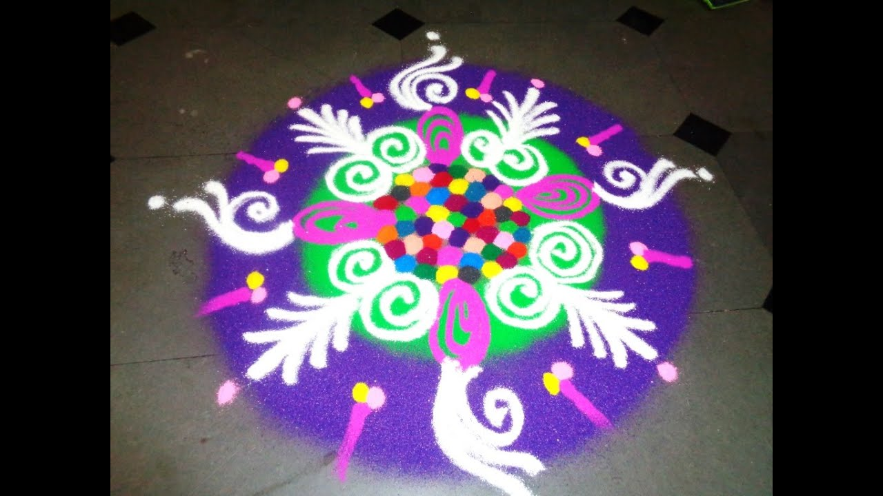 how to draw multi colours rangoli design - K67 - YouTube for rangoli designs with flowers and having traditional themes  15lptgx